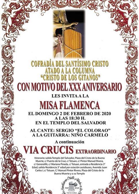 La Cofradía acompaña al Stmo. Cristo Atado a la Columna en su XXX Aniversario